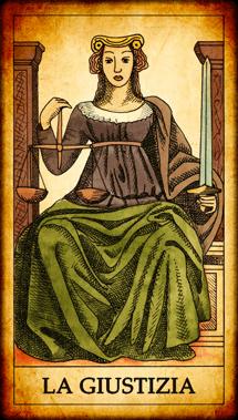 """Carta dei Tarocchi """"La Giustizia"""""""