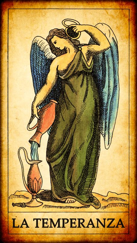 "Xiv Temperance Balance Archangel Zadkiel: Carta Dei Tarocchi ""La Temperanza"""