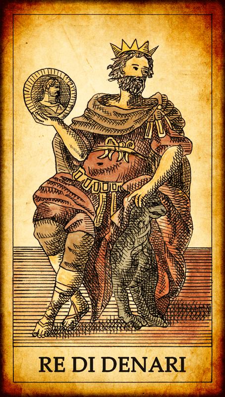 carte di denari dei tarocchi
